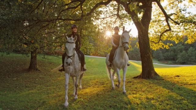 vídeos de stock e filmes b-roll de slo mo two female friends riding through orchard at sunset - cavalgar