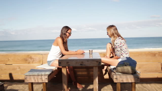 Two female friends sitting, being annoyed by wasp at bar by the beach in the South of France.