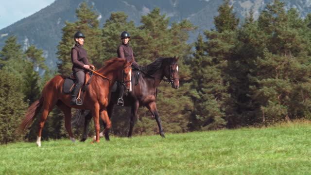 Twee vriendinnen praten tijdens het paardrijden in de natuur