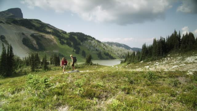 ws pan two female hikers walking through mountain landscape, garibaldi provincial park, squamish, british columbia, canada - squamish stock videos & royalty-free footage