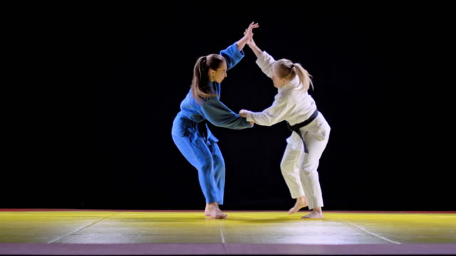 畳で戦う slo mo 二人の女性 judoists - 柔道点の映像素材/bロール