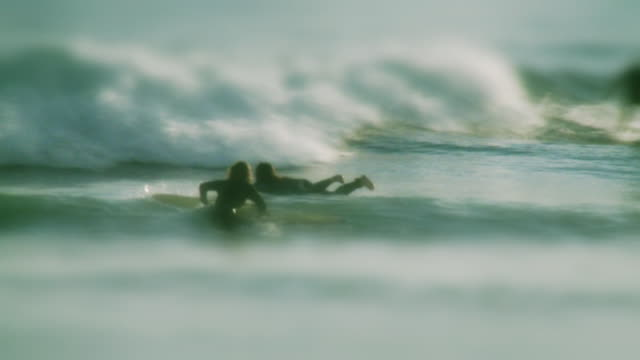 MS Two female surfers ducking wave and heading out to surf / Laguna Beach, California, USA