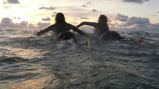 vídeos de stock e filmes b-roll de two female surfers paddling on surfboards in the ocean at sunset in southern france - remar com remo