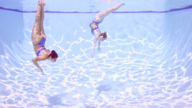 MS Two female synchronized swimmers performing routine underwater view