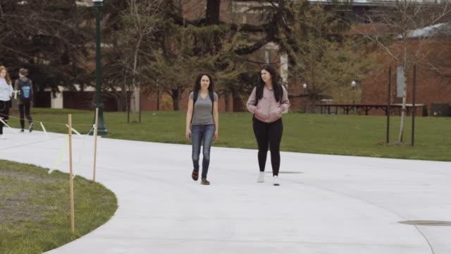 two female university students walking to class - pampering self stock videos and b-roll footage