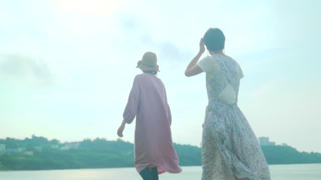 two female walking - 2人点の映像素材/bロール