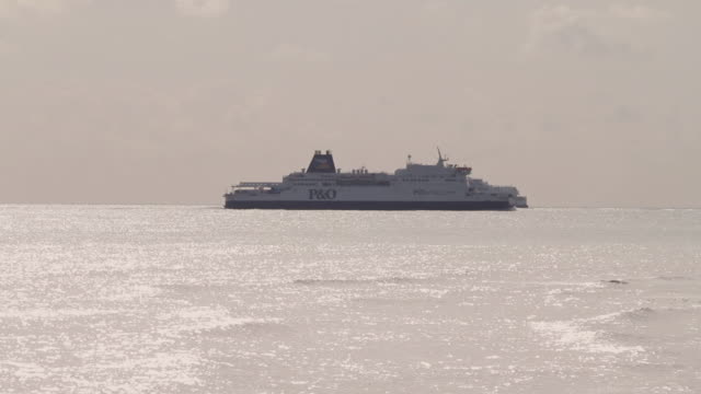 ws two ferries passing each other in english channel / dover, kent, united kingdom - english channel stock videos and b-roll footage