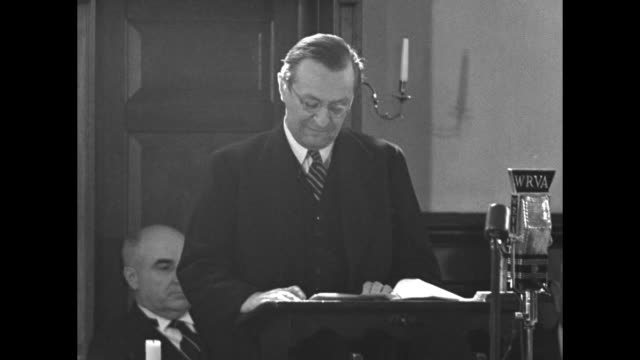 two file shots of john buchan lord tweedsmuir who is governor general of canada standing at podium as he addresses the canadian parliament - john buchan stock videos & royalty-free footage