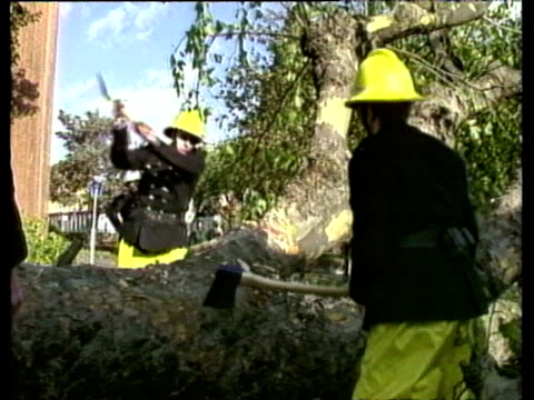 Two firemen with axes chopping at tree blocking the road October Storms 1987
