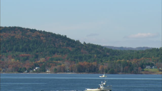 slight bobbing two fishing boats one in distant bg one in fg in penobscot bay small boat fg moving out of frame partial island w/ tree hills bg - augusta maine stock videos & royalty-free footage