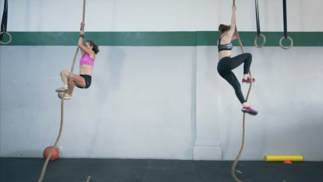 vídeos de stock e filmes b-roll de two fit women climbing the rope at the gym club. - corda