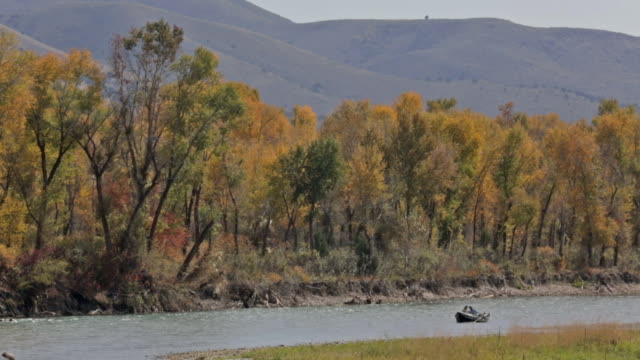 stockvideo's en b-roll-footage met two fly fisherpeople float and fish from a drift boat in the distance on the snake river in idaho - snake river