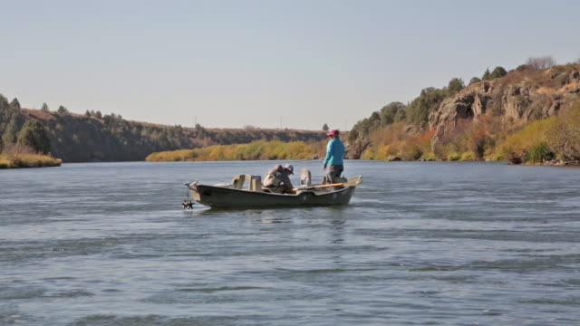two fly fisherpeople float and fish from a drift boat on the snake river in idaho - snake river stock videos & royalty-free footage