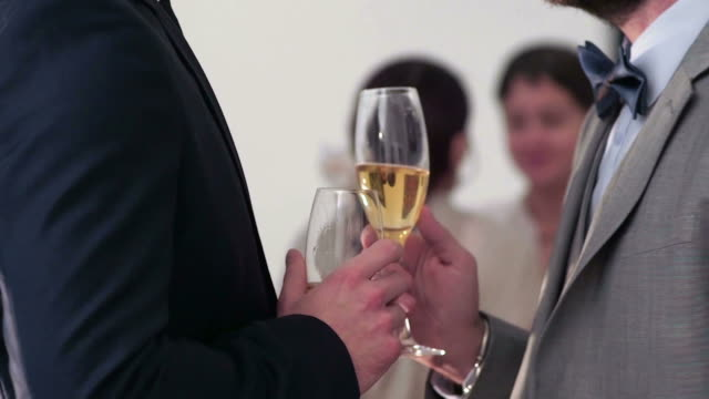 two freshly married gays touching glasses - champagne flute stock videos & royalty-free footage