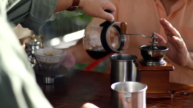 two friend drink hand drip coffee together