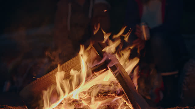 two friends sit together and share a beer by the campfire. - camp fire stock videos & royalty-free footage