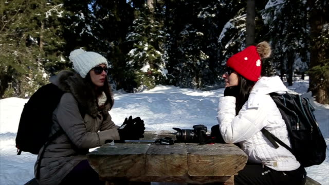 two friends sitting and talking in amazing winter ambient on winter vacation - ski jacket stock videos and b-roll footage