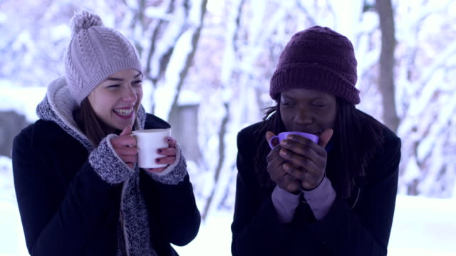 two friends smiling in the snow and drinking tea - tea hot drink stock videos & royalty-free footage
