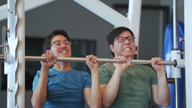 vídeos de stock, filmes e b-roll de trabalho em equipe de dois amigos: segurando pesos de elevação juntos para exercícios na academia - levantar