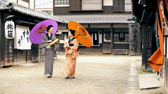ds two geishas walking in the village - kyoto stock videos and b-roll footage