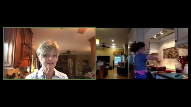 two generations cooking in the kitchen over a conference call (audio) - split screen stock videos & royalty-free footage