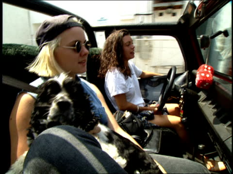 stockvideo's en b-roll-footage met two girls and dog riding in jeep - passagiersstoel