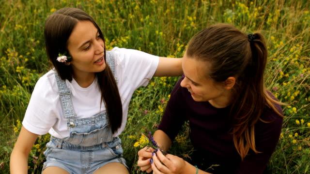 stockvideo's en b-roll-footage met twee meisjes genieten van openlucht, op het gras in aard - generation z