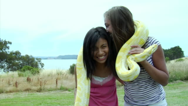 MS, Two girls holding albino snake around shoulders standing on grass, Richmond, California, USA