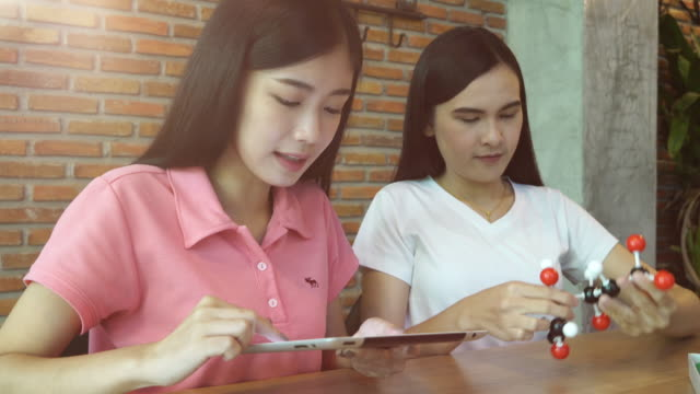 two girls learning on chemistry subject - mathematics stock videos and b-roll footage