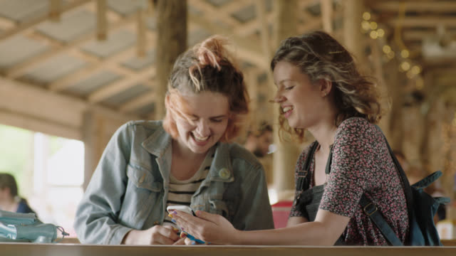 MS. Two girls look at smartphone together and laugh in windy picnic shelter.