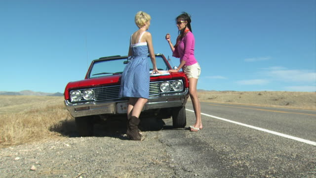 two girls looking at a map on a road trip - see other clips from this shoot 1138 stock videos and b-roll footage