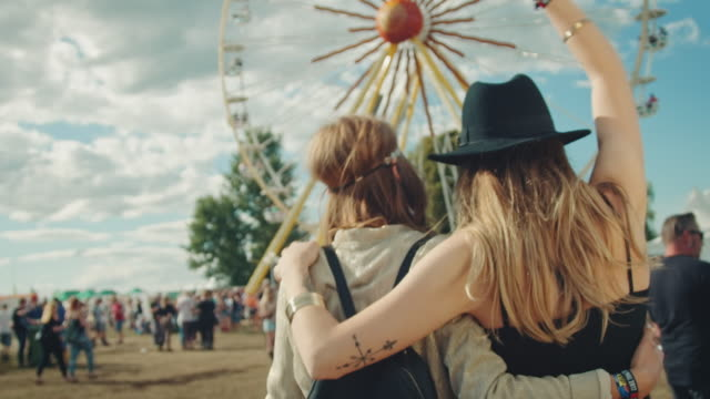 two girls on festival - happiness stock videos & royalty-free footage