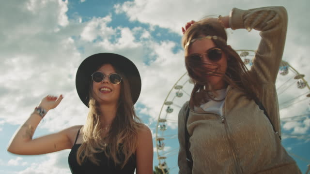 two girls on festival - youth culture stock videos & royalty-free footage