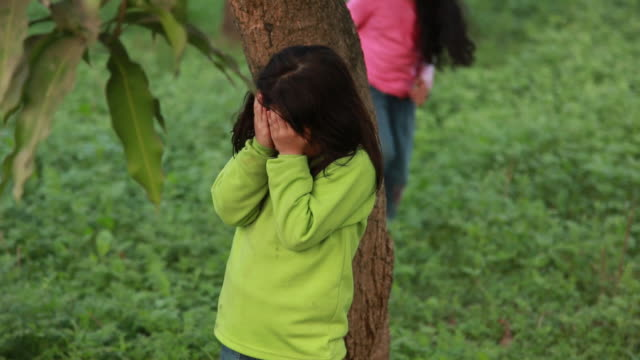 two girls playing hide-and-seek in a park  - hide and seek stock videos & royalty-free footage
