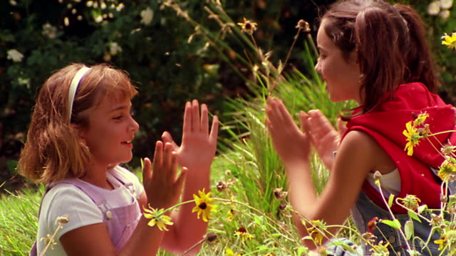 """ms pan profile two girls playing """"patty cake"""" in field with wildflowers - hair accessory stock videos & royalty-free footage"""