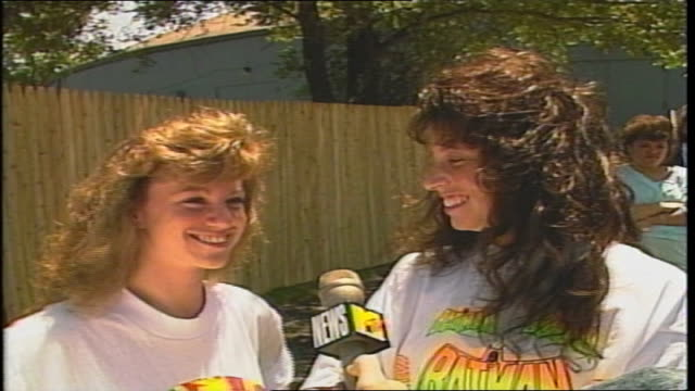vídeos de stock e filmes b-roll de two girls talk about new kids on the block and tiffany in westbury, ny - 1980 1989