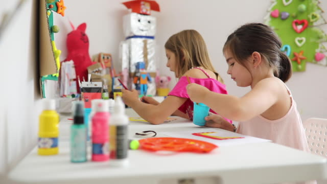 two girls the art class - child care stock videos & royalty-free footage