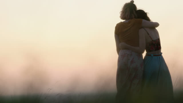 ws slo mo. two girls walk through wheat field in flowing dresses at magic hour. - sister stock videos & royalty-free footage