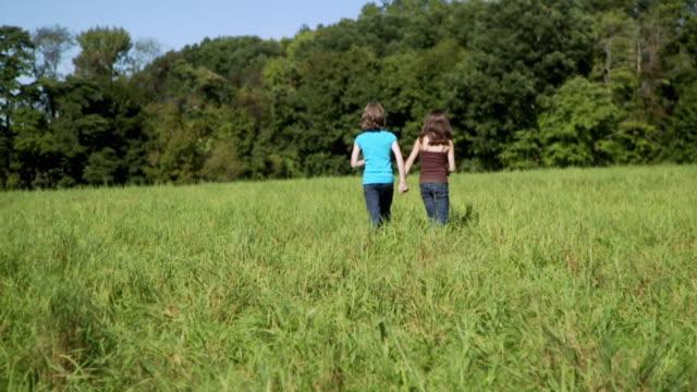 vídeos de stock e filmes b-roll de slo mo ws two girls (8-9) walking across meadow / hampton, new jersey, usa - prado