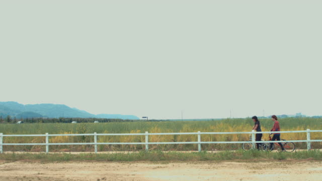 two girls walking with bmx bicycles in a field - 固定撮影点の映像素材/bロール