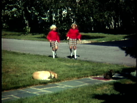 1970 ws two girls (6-7, 8-9) wearing matching red outfits playing with dog and cat in front yard, denmark - conformity stock videos & royalty-free footage