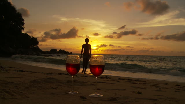ws two glasses of red wine on beach at sunset, silhouette of woman walking in background / seychelles - two objects stock videos and b-roll footage