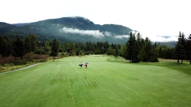 two golfers walking down the fairway towards the green - golf bag stock videos & royalty-free footage