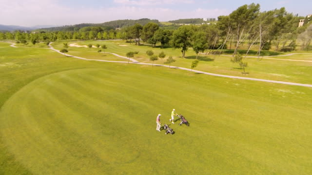 two golfers with golf bags walking towards another hole, on a sunny day - golfer stock videos & royalty-free footage