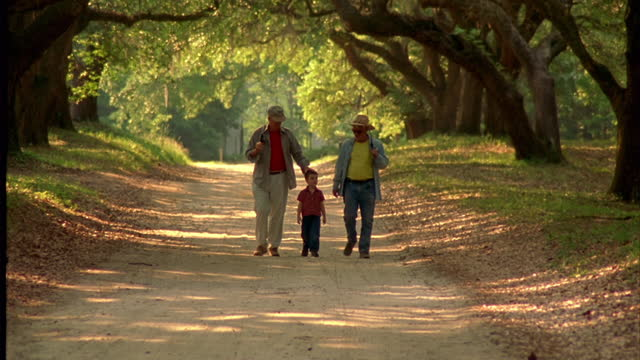 vídeos de stock, filmes e b-roll de two grandfathers and their grandson walk under trees with fishing poles. - continuidade