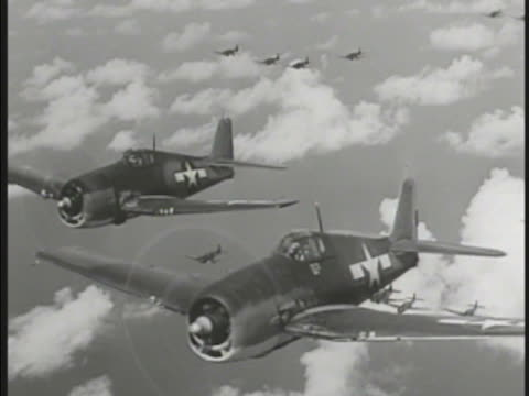 two grumman f4f 'wildcat' in side by side flight w/ f4u corsairs bg world war ii wwii - side by side stock videos & royalty-free footage