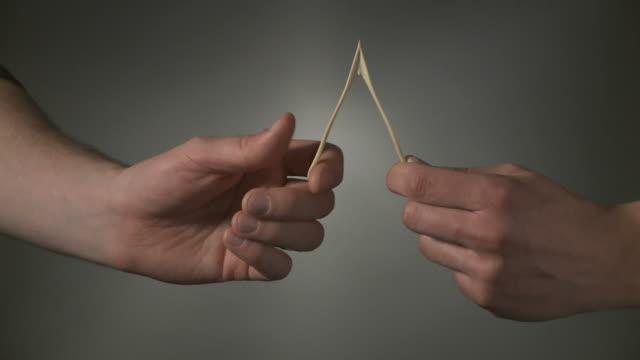 two hands breaking a wish bone