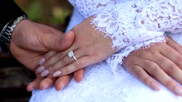 Two hands with glittering wedding rings