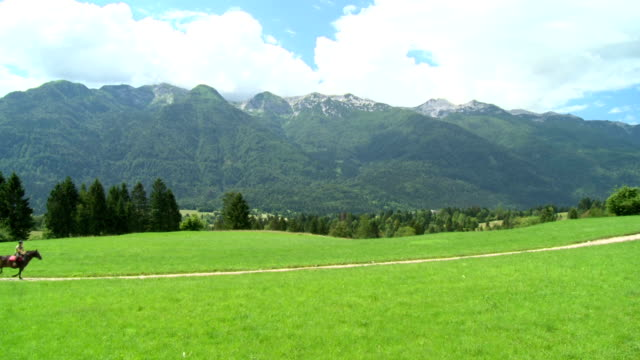 hd crane: two horse riders galloping on the meadow - julian alps stock videos and b-roll footage