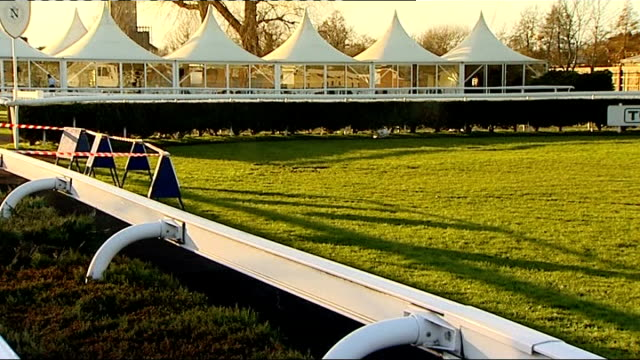 two horses die at newbury england berkshire newbury ext gvs paddock at racecourse / gvs sign for 'parade ring and winners enclosure' / close up... - newbury england stock videos & royalty-free footage